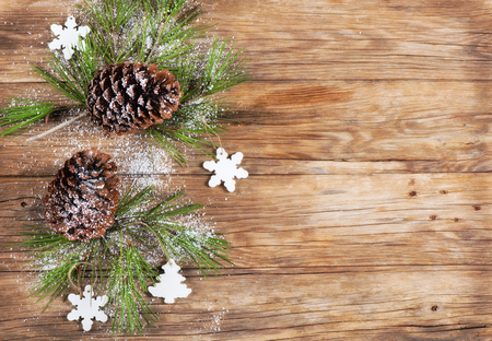 hristmas: ?hristmas background with pine cones, above view. Stock Photo