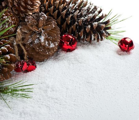 Jingle bells and pine cone on a snow