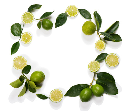 lemon slice: Frame made of lime fruits with leaves isolated on white background.