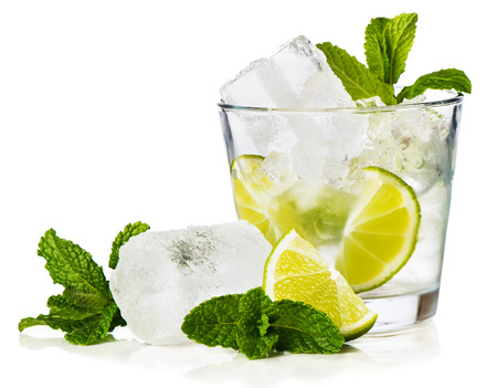 Caipirinha is Brazils national cocktail, made with cachaca, sugar and lime. Isolated on white background. 스톡 콘텐츠