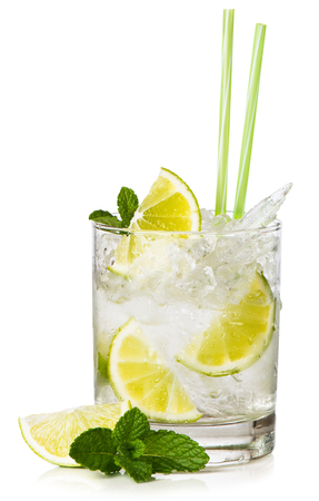 Brazils national cocktail Caipirinha made with cachaca, sugar and lime. Isolated on white background. 스톡 콘텐츠