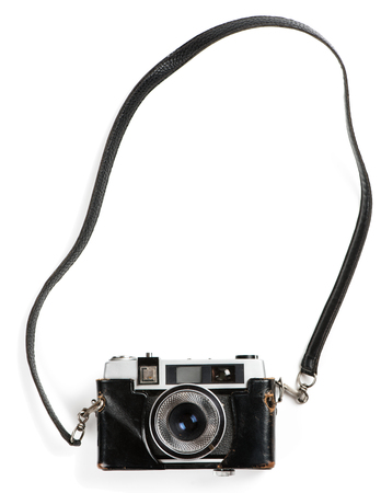 Top view of old film photo-camera isolated on white background. Stok Fotoğraf