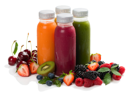 Variety smoothies, juices, beverages or drinks with fresh fruits and berries isolated on white background.