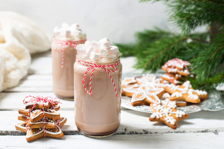 Christmas mood - chocolate in a bottle with marshmallows, fir branch, gift and gingerbread over white wood texture Stock Photo