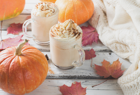 Pumpkins spice latte with pumpkins and withe cozy sweater over white wood texture. Copy space.  Stock Photo