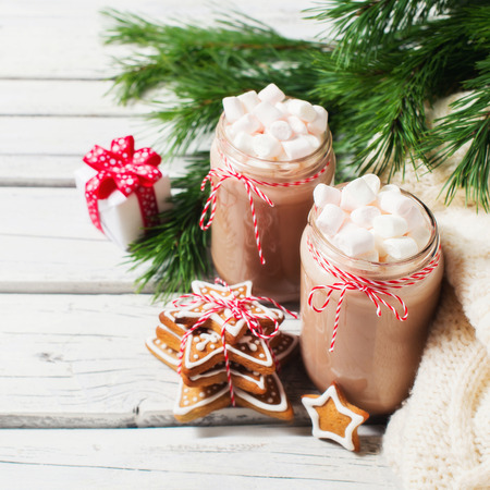 christmas mood chocolate in a bottle with marshmallows fir branch gift and gingerbread - Christmas Marshmallows