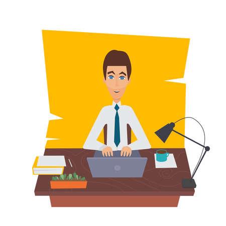 overwork: Businessman character on office worker set vector illustration. Cartoon illustration Illustration