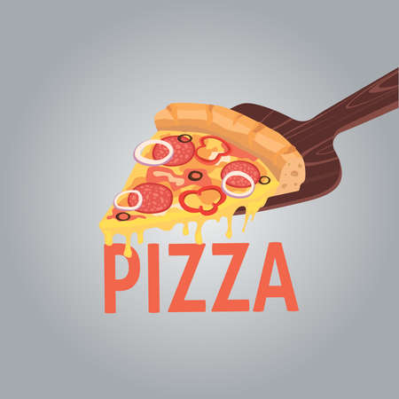 pepperoni: Vector image of creative pizzas. A slice of pizza for the design of advertising for your restaurant business. Cartoon illustration pepperoni.