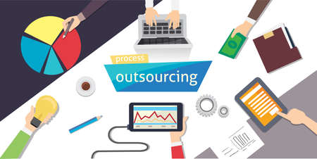 conferencing: Outsourcing Procces. Outsourc digital design, vector illustration Illustration