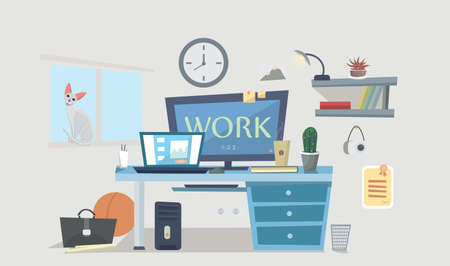office space: Designer work space. Working Place Modern Office Interior Design Vector Illustration Illustration