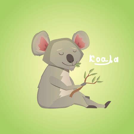 koala: Ilustración del vector de koala lindo de dibujos animados sobre fondo verde