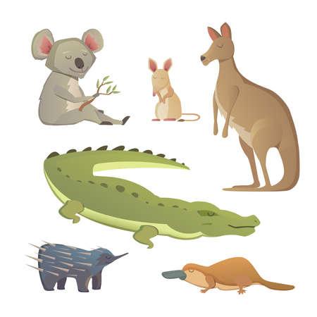 australian animals: Vector Set Of Cartoon Australian Animals Isolated. Illustration