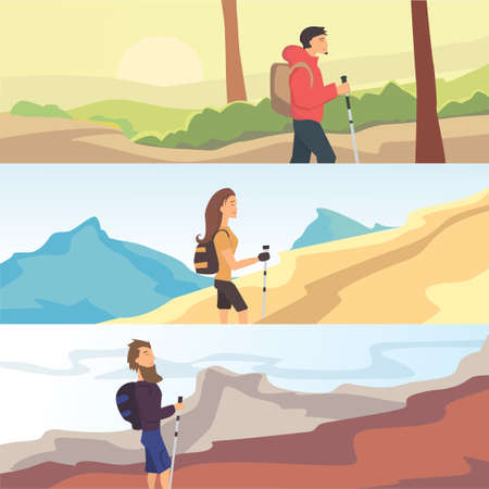 Set of flat vector web banners on the theme of Hiking, Walking. Sports, outdoor recreation, adventures in nature Vector Illustration