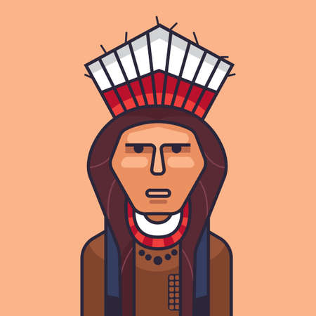 red indian: Vector illustration of cute red indian. Stock Photo