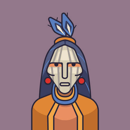 peace pipe: Vector illustration of cute red indian. Cartoon indians