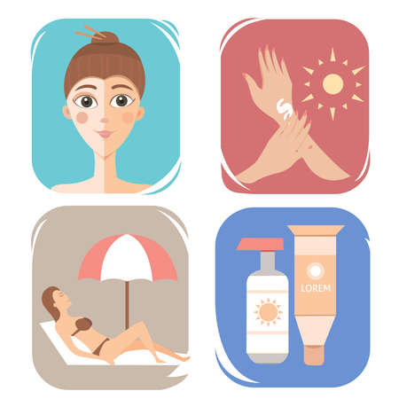 suntan lotion: Care cream skin protection illustration