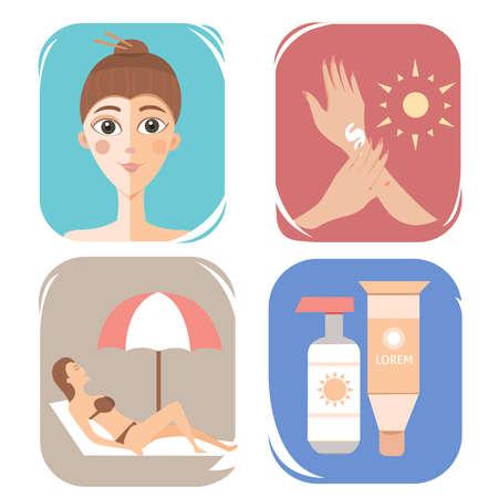 Crema del cuidado de la ilustración protección de la piel