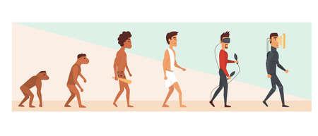 La evolución humana y el futuro. Ilustración de vector