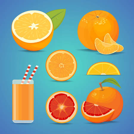 waterdrops: freash orange fruit with green leaves. sliced orange