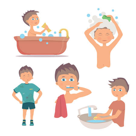 Mañana la higiene personal y el lavado de manos procedimiento Foto de archivo - 64951055