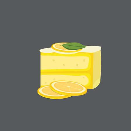 blueberry cheesecake: lemon cheesecake modern vector illustration