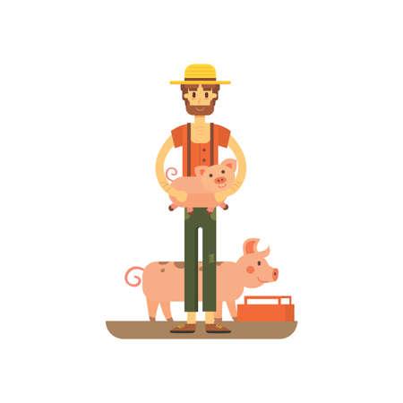 pitchfork: farmer with fanny pig isolated. carton illstration of farming eps10 Illustration