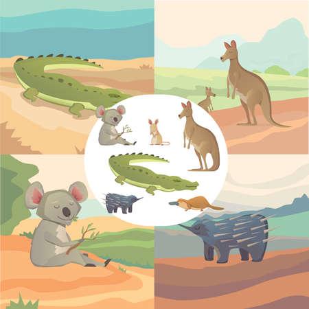 australian animals: Vector Set Of Cartoon Australian Animals Isolated eps10