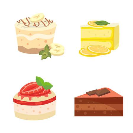 trozo de pastel: pasteles dulces coloridas conjunto rebanadas piezas Vectores