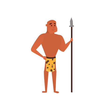 hombre prehistorico: Vector hombre prehistórico. aislado de la ilustración de dibujos animados hombre de las cavernas Vectores