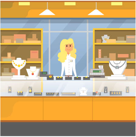 Shopping Center, jewelry store vector illustration.  イラスト・ベクター素材