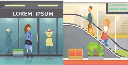 Platte winkelkleding of kledingwinkel. Winkelen in een mall cartoon afbeelding. Mooie vrouw Wandelen met tassen in de kledingwinkel.