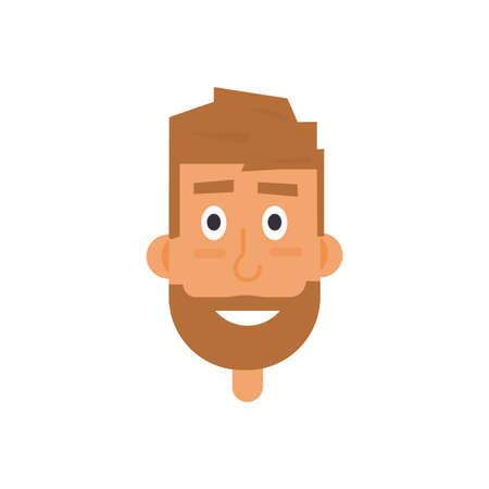 hombre barba: rostro barbado hombre avatar. Vectores