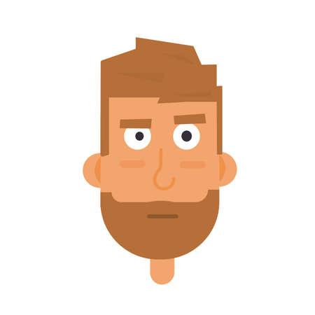 hombre con barba: rostro barbado hombre avatar. Vectores