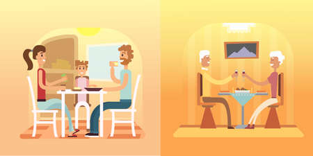 family eating: Vector illustration of a family eating. Family dinner and supper vector set eps10