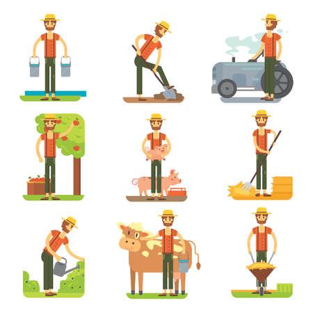 Farmer at work vector flat design. Stock Illustratie