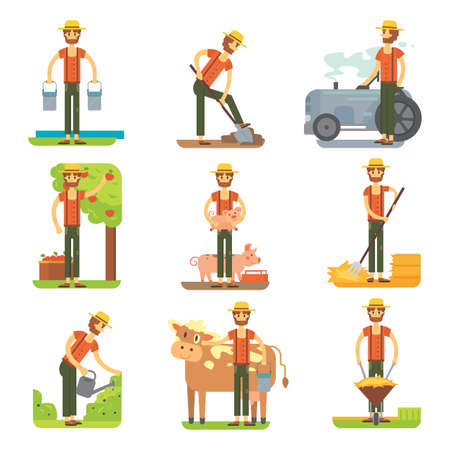 Farmer at work vector flat design. 矢量图像