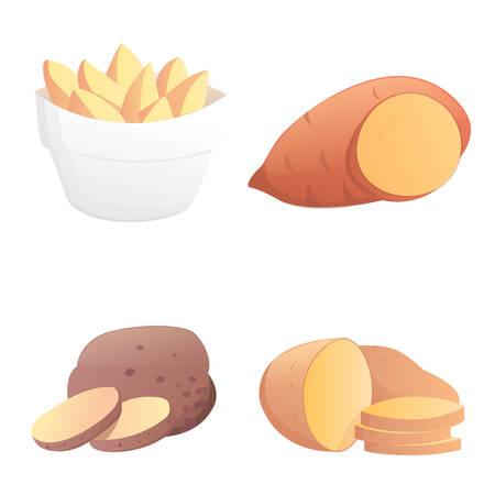 pareja comiendo: Patatas conjunto ilustración vectorial. papa aislados en blanco