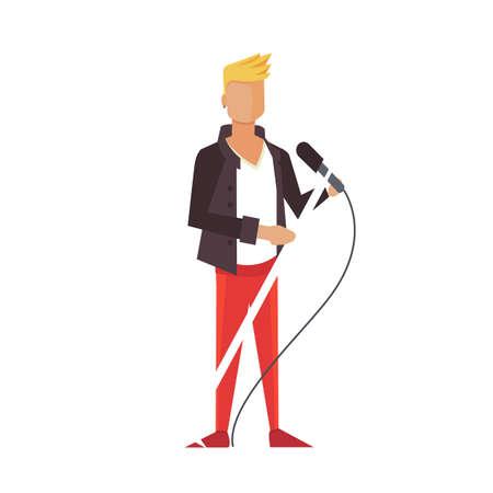bass drum: Music pop or rock guitarist. Singer cartoon boy flat illustration. isolated