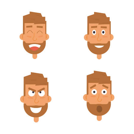 Businessman generation of various expressions. Emotions faces vector characters isolated