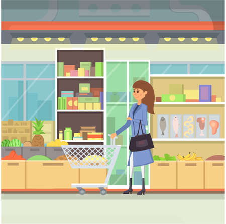 shopping centre: Shopping in a mall cartoon illustration. Peopple in Shopping Centre vector. Food market building