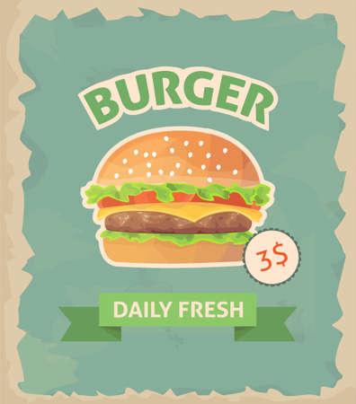 sesame seeds: Burger retro poster vector flat Illustration