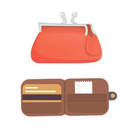 money wallet: Purse vector illustration. Finance bag flat icons set