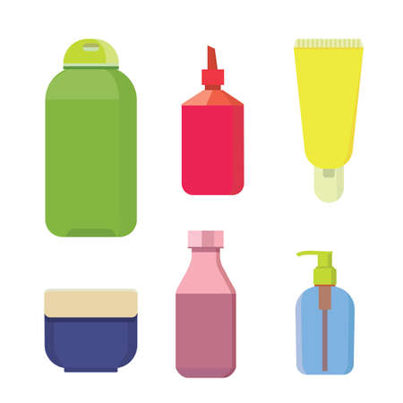 shampoo bottle: Cosmetic bottles vector color set. Beauty shampoo bottle and container with lotion for skin