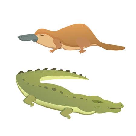 platypus: Australian animals vector crocodile and platypus