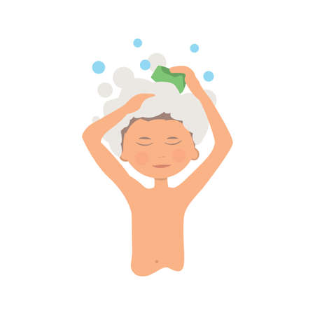 Morning personal hygiene and hands washing procedure. hygiene boy Illustration