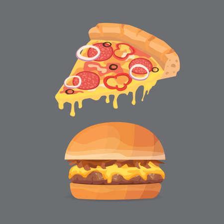 americana: Vector illustration of various fast food. Cartoon pizza and burger isolated illustration Illustration