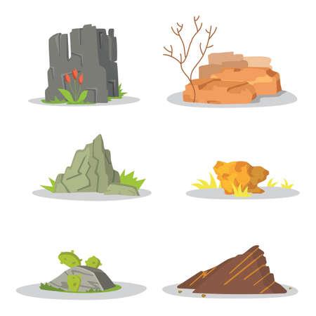 cobble: Garden Rocks and stones single or piled for damage. illustration game art architecture design. boulder vector set