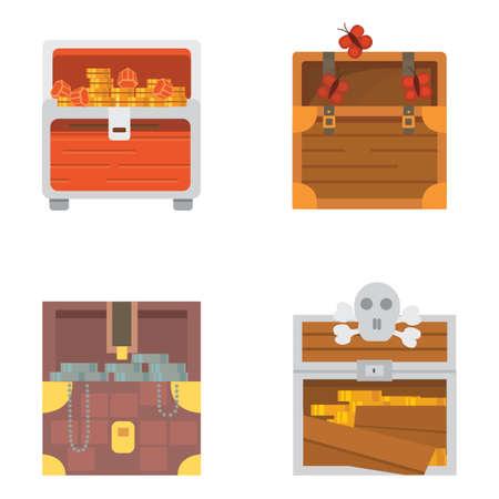 diferent: Cute set of diferent chests. Cartoon illustration chest. Safe money vector