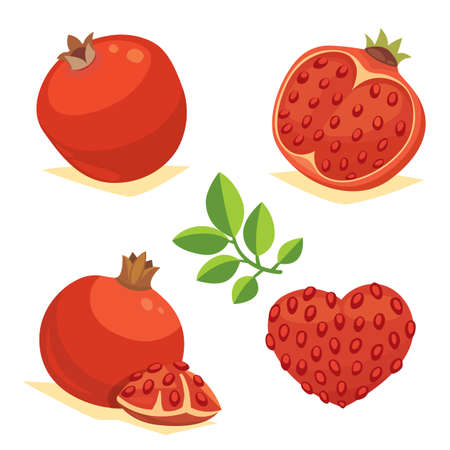 Whole and cut pomegranate icon set. Cartoon healty fruit heart isolated vector illustration. Vegeterian  vegan diet food. Ripe Illustration