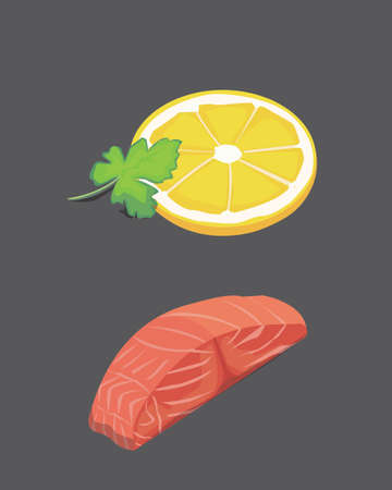 salmon steak ad lemon. Fresh organic seafood. Vector illustration Stock Photo